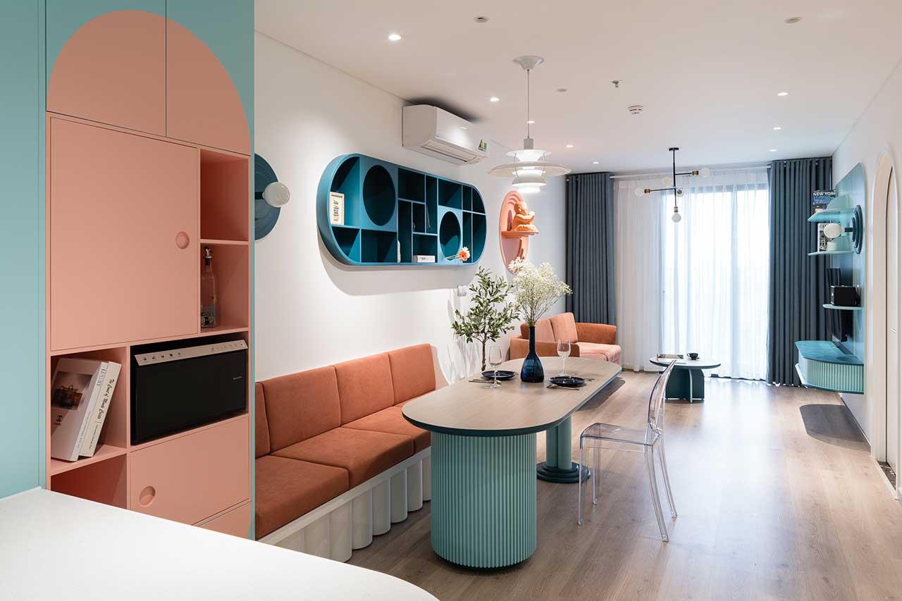 Turcoaz roz piersică și portocaliu într un apartament plin de personalitate din Vietnam 6