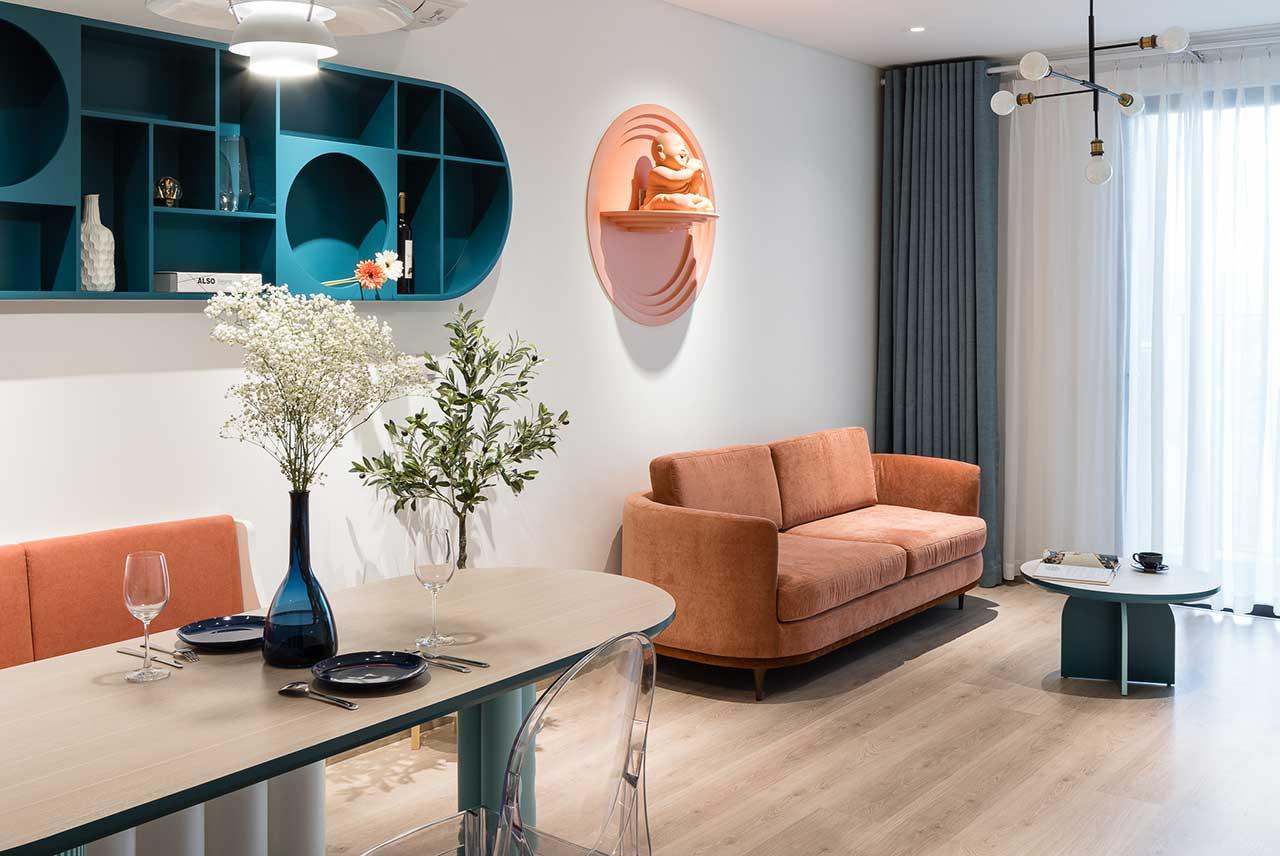 Turcoaz roz piersică și portocaliu într un apartament plin de personalitate din Vietnam 7
