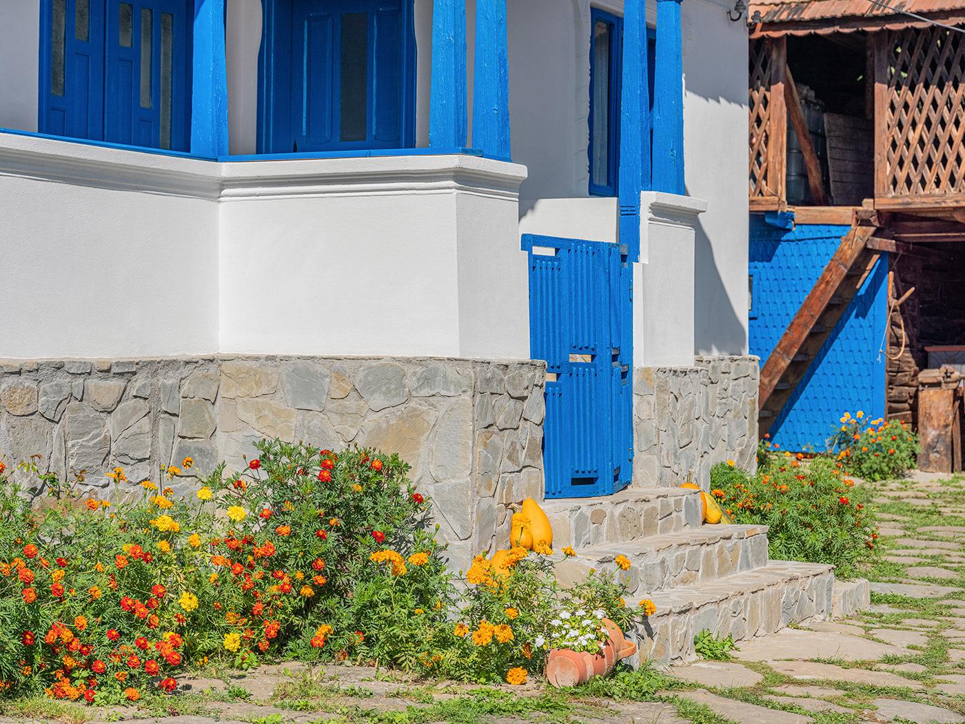 Uși ferestre mobilier și pridvor albastre într o casă tradițională românească din Schiulești 2