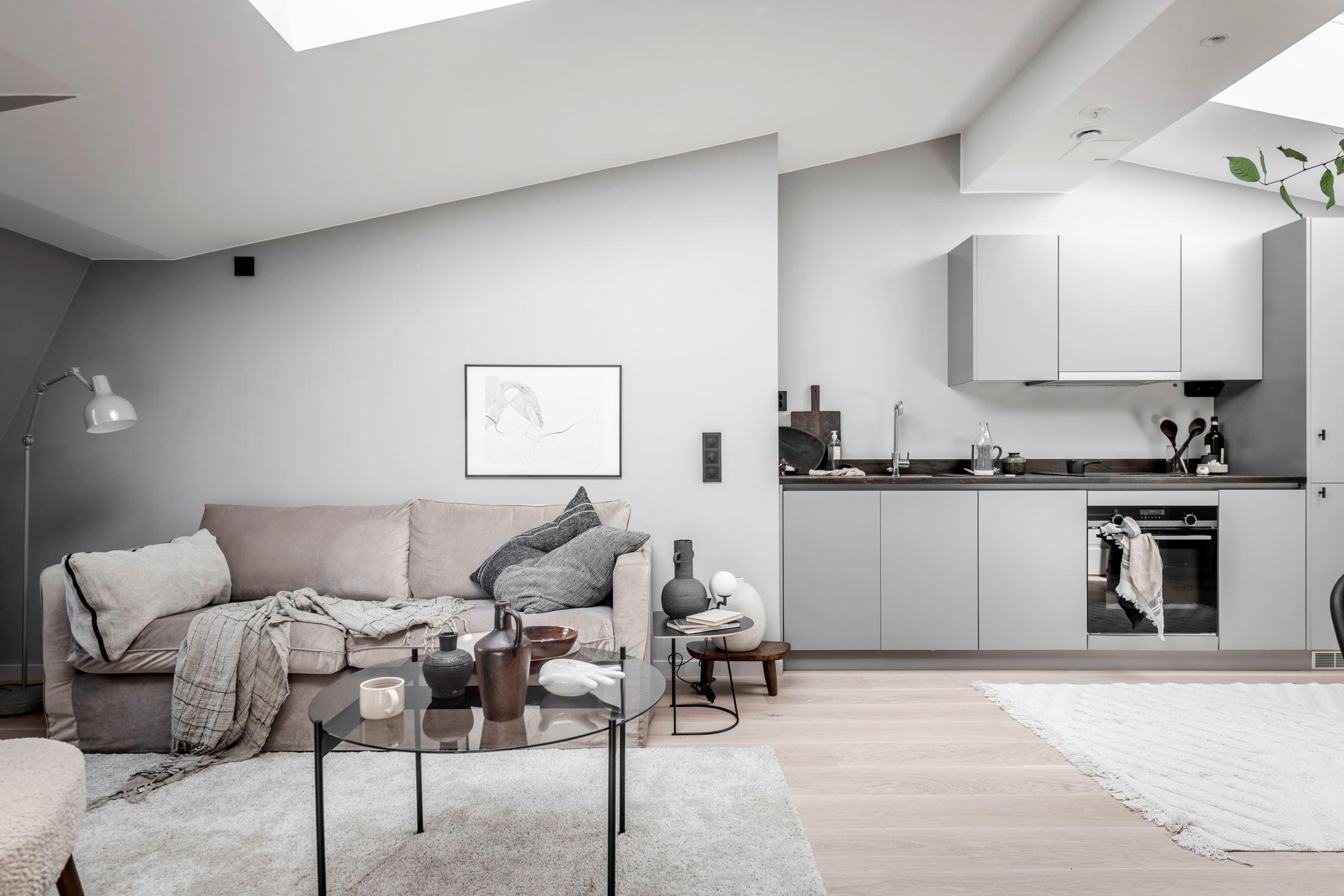 Plan deschis și decor nordic într o garsonieră la mansardă 35 m² 2