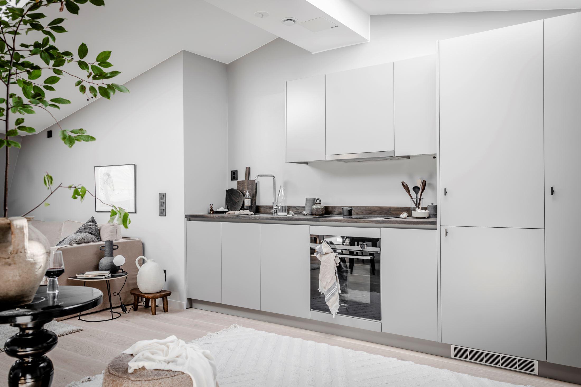 Plan deschis și decor nordic într o garsonieră la mansardă 35 m² 8