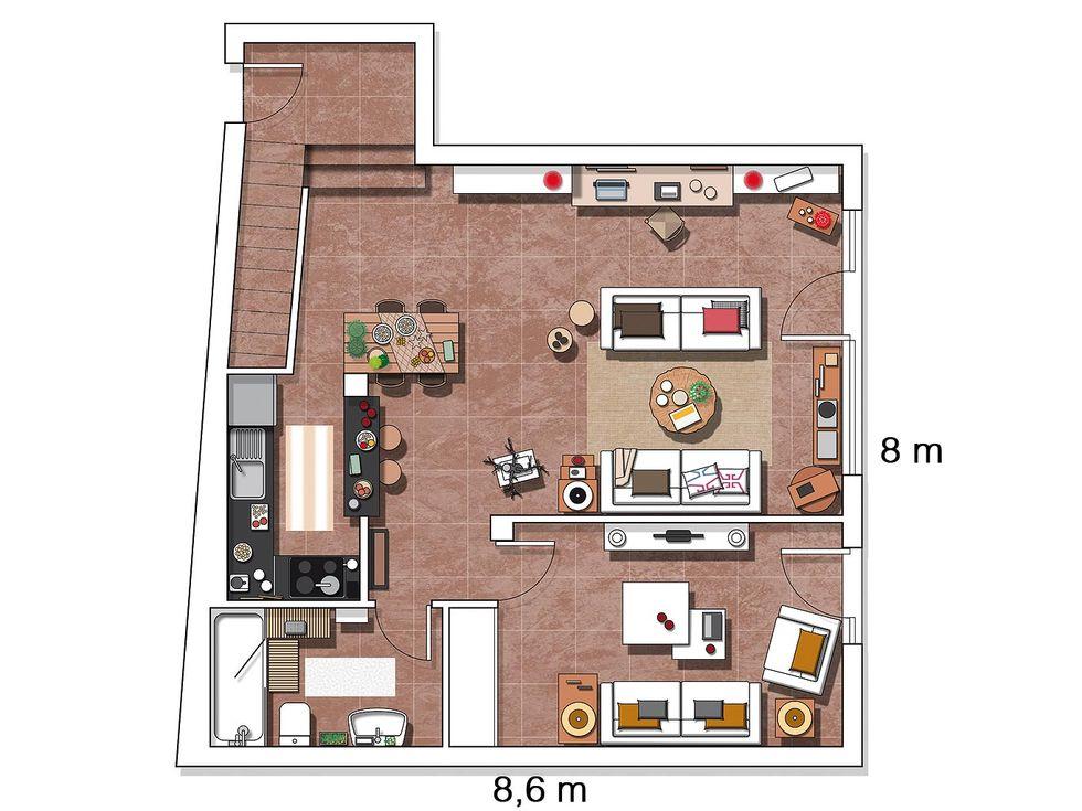 Decor de Crăciun într un apartament pe două niveluri din Madrid 18